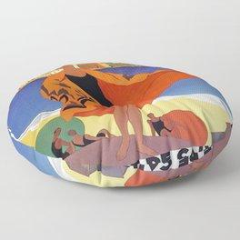 Vintage poster - La Plage de Calvi, La Corse, France Floor Pillow