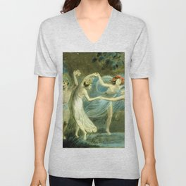 "William Blake ""Oberon, Titania and Puck with Fairies Dancing"" Unisex V-Neck"
