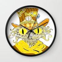 steam punk Wall Clocks featuring Steam Punk Cat by J&C Creations