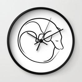 Sleeping dog line drawing Wall Clock