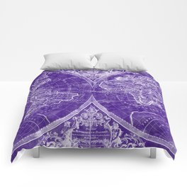 World Map (1691) Purple & White Comforters