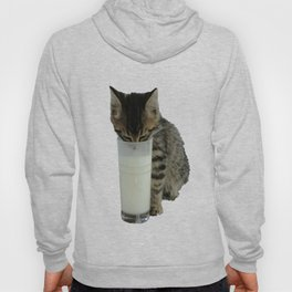 Cute Wild Kitten With A Glass Full of Optimism Hoody
