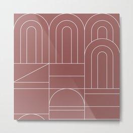 Deco Geometric 04 Dark Pink Metal Print