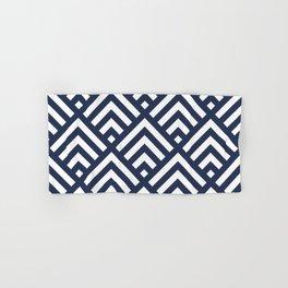 Navy Blue geometric art deco diamond pattern Hand & Bath Towel