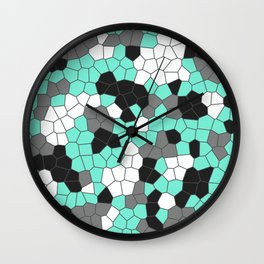 Abstract in Teal and Gray Wall Clock