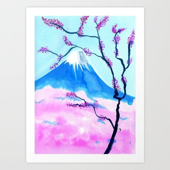 Mt Fuji with Sakura Art Print