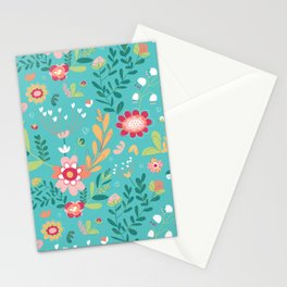Teal Garden Hearts Stationery Cards