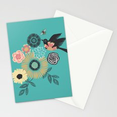 Birds & Bees - Turquoise Stationery Cards