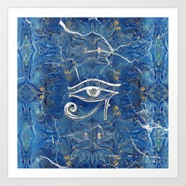 Silver Egyptian Eye of Horus  on blue marble Art Print