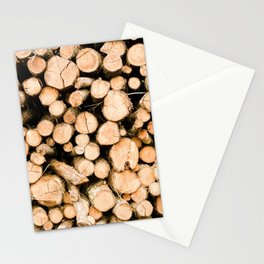 Pile of Logs, Stacked Wood, Forest Trees, Lumber - Travel Nature Photography Stationery Cards