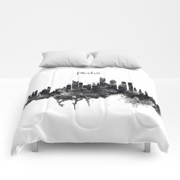 Boston Skyline Black and White Comforters