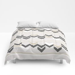 Geometric Arrowhead Charcoal Gold And White Grunge Pattern Comforters