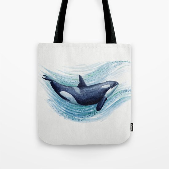 Orca Spash ~ Watercolor Killer Whale Painting by Amber Marine Tote Bag