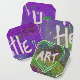 Hustle and Heart creates Art (Purple & Green) Coaster