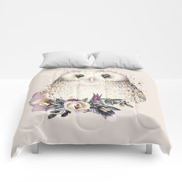 Boho Illustration- Be Wise Little Owl Comforters