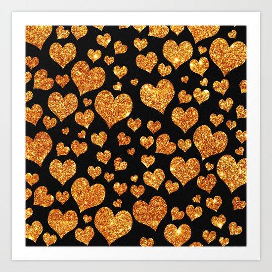 Valentine's | Girly Gold Glitter Cute Love hearts Pattern Black Art Print