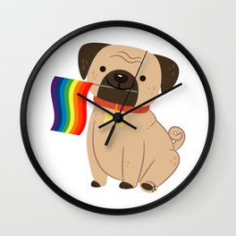 LGBT Gay Pride Flag Pug - Pride Gay Wall Clock