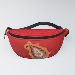 red jewel paisley border Fanny Pack