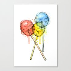 Lollipop Red Blue Yellow Candy Food Watercolor Canvas Print