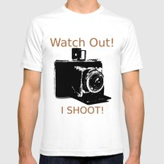 Watch Out, I Shoot Photos! SMALL White Mens Fitted Tee