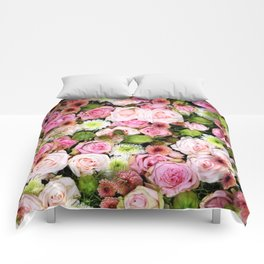 Bed of Roses Pink White Comforters