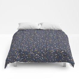 Speckles I: Dark Gold & Snow on Blue Vortex Comforters