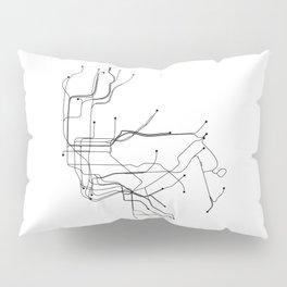 New York City White Subway Map Pillow Sham