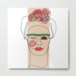 Frida Kahlo Line Art Metal Print