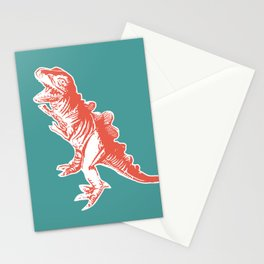 Dino Pop Art - T-Rex - Teal & Dark Orange Stationery Cards