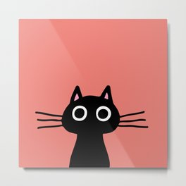 Cute Black Kitty Cat Metal Print