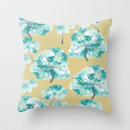 Tree Canopy of Turquoise Pattern Throw Pillow