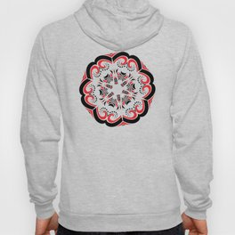 Floral Black and Red Round Ornament Hoody