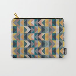 Geometric Triangle Pattern in Retro 70s Color Palette Carry-All Pouch