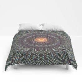 Sun Circle Bohemian Geometric Thread Weave Pattern Original \\ Yellow Gray Blue Purple Color Scheme Comforters