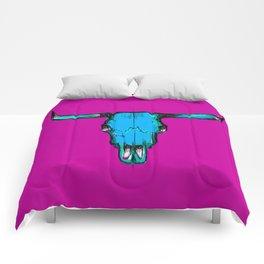 Horns - blue & pink Comforters