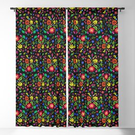 Folk Florals Dark Blackout Curtain