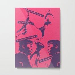 Pink Pop Art Kiss Scandal in Paris Metal Print