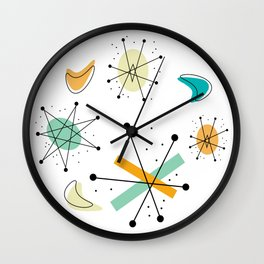Vintage Mid Century Modern Pattern Shapes Wall Clock