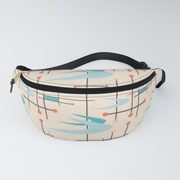 Mid Century Modern Boomerangs, blues on cream Fanny Pack