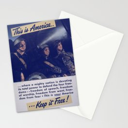 Vintage American World War 2 Poster - This is America: Defending Our Four Freedoms (1943) Stationery Cards