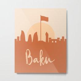 BAKU AZERBAIJAN CITY SUN SKYLINE EARTH TONES Metal Print