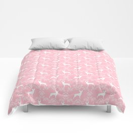 Miniature Pinscher doberman pinscher dog breed pure breed floral dog silhouette Comforters