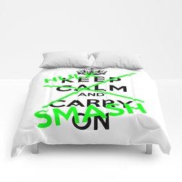 Keep Calm And Hulk Smash Comforters