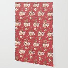 Vintage pattern red Wallpaper