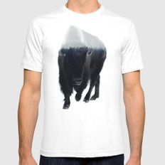 Bison In Mist White Mens Fitted Tee LARGE