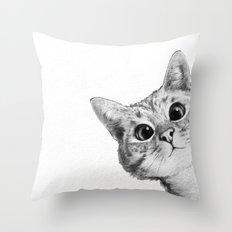 sneaky cat Throw Pillow