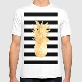 Gold Pineapple Black and White Stripes T-shirt