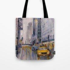 Hey Taxi - New York City Midtown Rain  Watercolors Tote Bag