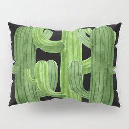 Desert Vacay Three Cacti on Black Pillow Sham