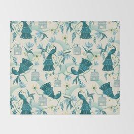 Aviary - Cream Throw Blanket